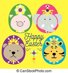EASTER ANIMAL - Big 4 dressed up as easter egg paraded for...