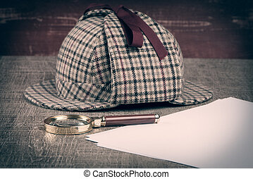 Sherlock Hat and magnifying glass - Deerstalker or Sherlock...
