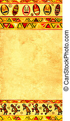Background with African national patterns - Dancing musician...