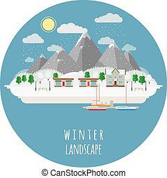 Flat winter landscape illustration with snow-covered town