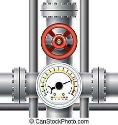 Gas pipe valve, pressure meter. Transit and industrial...