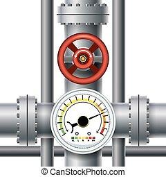 gas, röret, ventil, tryck, meter,