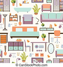 House furniture pattern seamless, background home, object...
