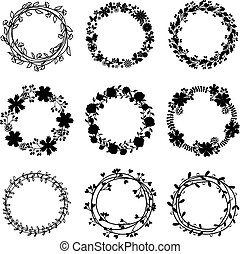 Hand-draw vector wreaths. Element nature decorative, drawing...