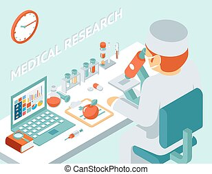 Medical research 3d isometric concept. Science chemical,...