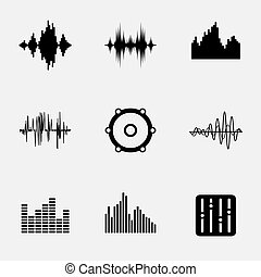 Soundwave music icons set. Wave and equalize audio, stereo...