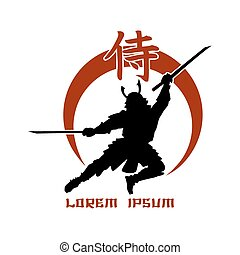 Oriental martial arts. Samurai fight club logo. Hieroglyph...