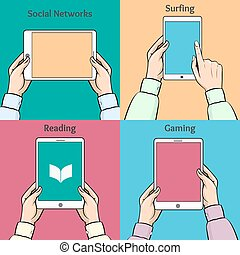 Smartphones, tablets and e-book in the hands