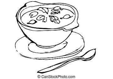 bowl of soup with herbs and spoon lying next - vector sketch...