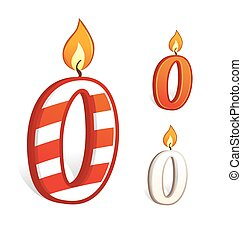 Birthday candle number zero - Vector illustration of a...