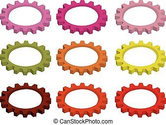Colorful Circular Cogwheel Gears Vector Illustration -...