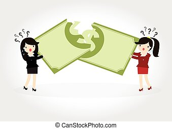 Fighting over money - Business woman fight over for dollar...