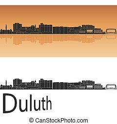 Duluth skyline in orange background in editable vector file