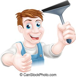 Squeegee window cleaner - A window cleaner holding a...