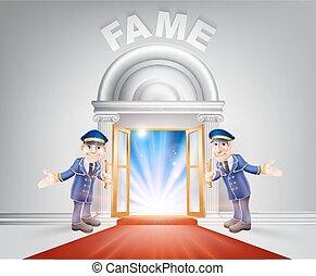 Red carpet door to Fame - Fame Door concept of a doormen...
