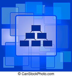 Organizational chart icon. Internet button on abstract...