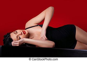 woman in a dark dress