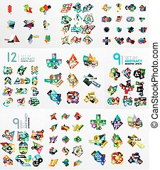 Set of abstract paper elements, infographics templates, presentation, banners