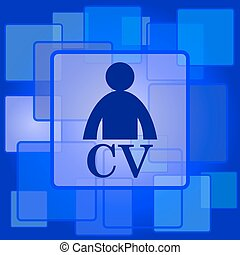 CV icon. Internet button on abstract background.
