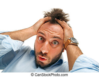 Stressed man tear his hair out, crazy face expression,...