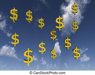 Dollar signs in front of cloudy sky