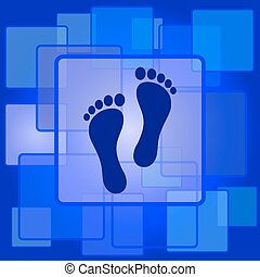 Foot print icon. Internet button on abstract background.
