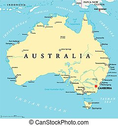 Australia Political Map with capital Canberra, national...