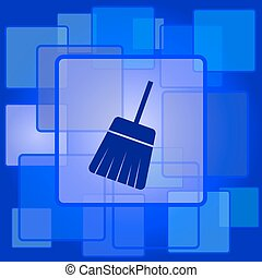 Sweep icon Internet button on abstract background