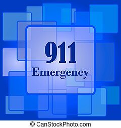 911 Emergency icon Internet button on abstract background