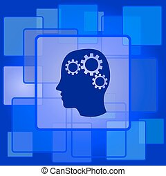 Brain icon Internet button on abstract background