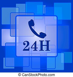 24H phone icon Internet button on abstract background
