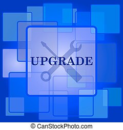 Upgrade icon Internet button on abstract background