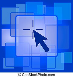 Click here icon Internet button on abstract background