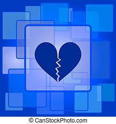Broken heart icon Internet button on abstract background