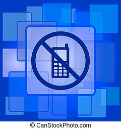 Mobile phone restricted icon Internet button on abstract...