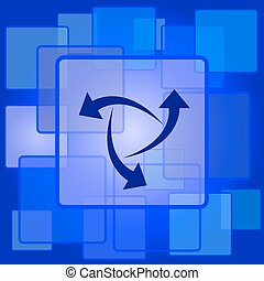 Change icon. Internet button on abstract background.