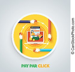 Pay Per Click Concept Internet Advertising Model