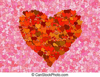 pequeno, muitos, fundos, vermelho, corações