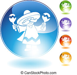 maraca player crystal icon isolated on a white background