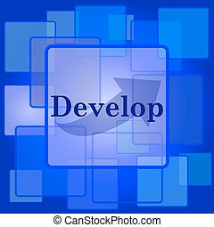 Develop icon Internet button on abstract background