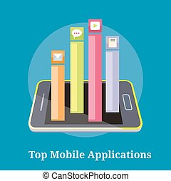 Top Apps Mobile Applications - Smartphone with columns rated...