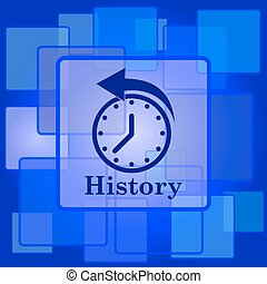History icon. Internet button on abstract background.
