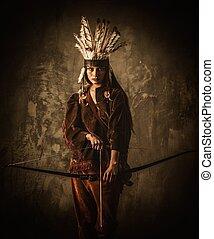 indianas, mulher, guerreira, com, bow, ,