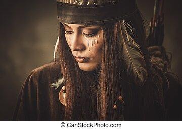 mulher, com, tradicional, indianas, Headdress, e, rosto,...
