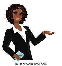 african american business woman,cartoon vector illustration