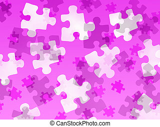 Jigsaw pieces on a pink gradient