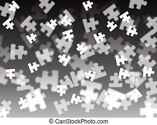 Puzzle piece on a black gradient background - black and...