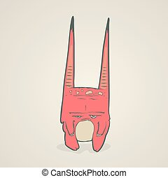 Vector illustration of little pink monster with long ears,...