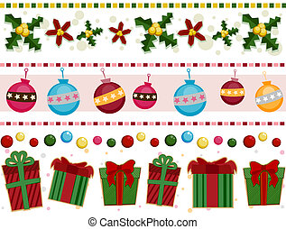 Christmas Borders - Christmas Border Set with Clipping Path