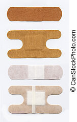Bandaid, front and back, single and double, gauze cloth...